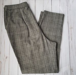 F21 Glen Check Plaid Tilden High-Waist Trousers
